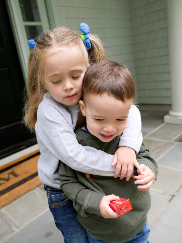 Eva Amurri Martino's daughter Marlowe hugs her brother Major outside their house in Connecticut