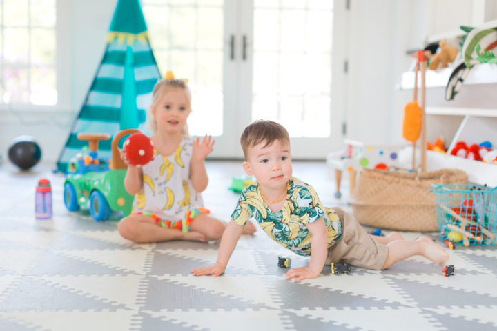 Eva Amurri Martino's daughter Marlowe and son Major play on the floor of their Connecticut home