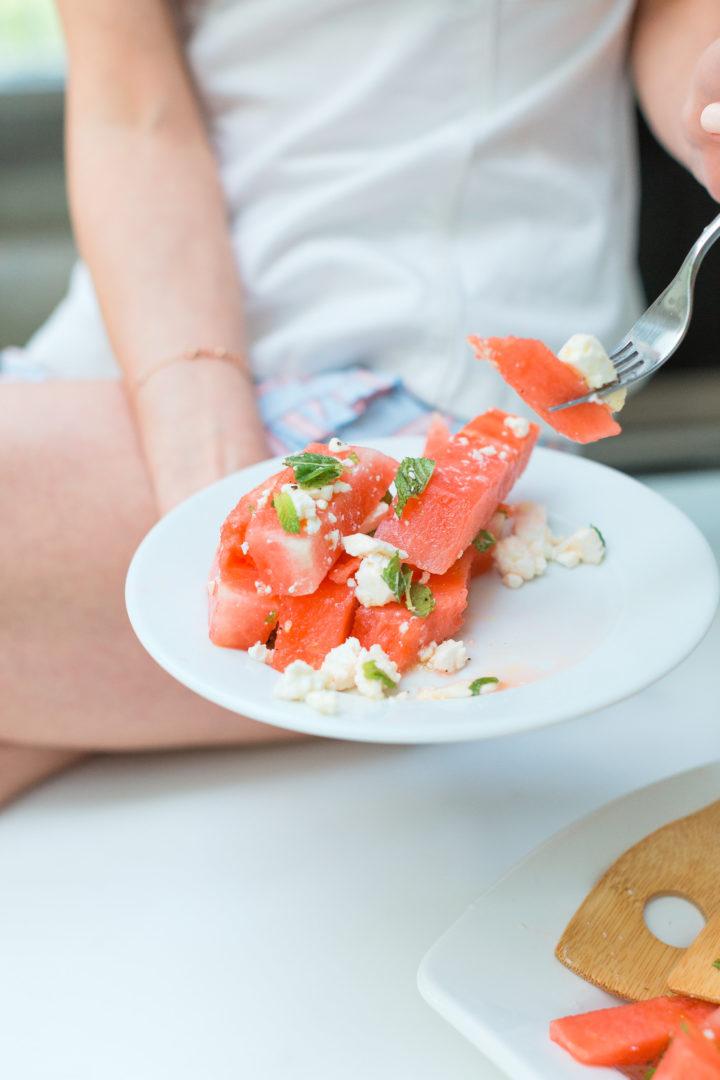 Eva Amurri Martinon prepares to dive into her Watermelon & Feta salad