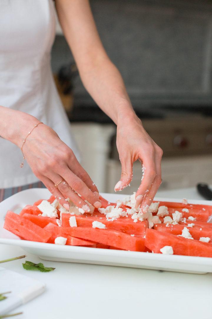 Eva Amurri Martino prepares Watermelon & Feta salad