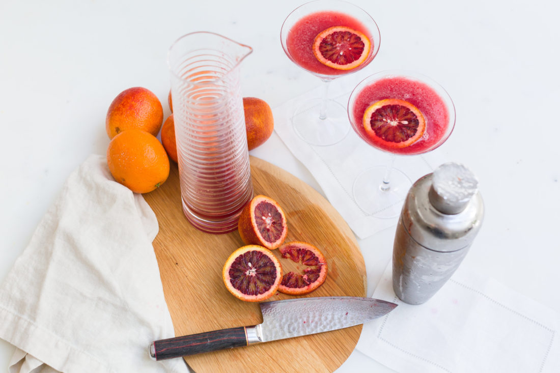 Eva Amurri Martino shares her recipe for blood orange and ginger martinis, and makes them in the kitchen of her Connecticut home