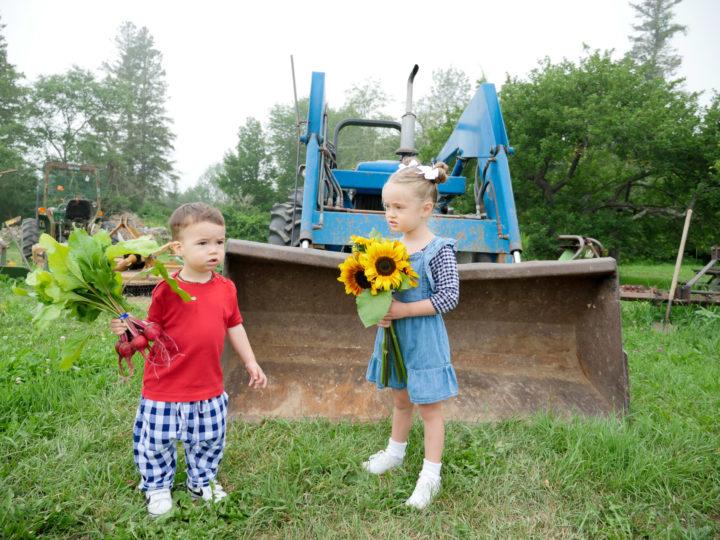 Eva Amurri Martino's daughter Marlowe and son Major holding sunflowers in Bar Harbor, ME.