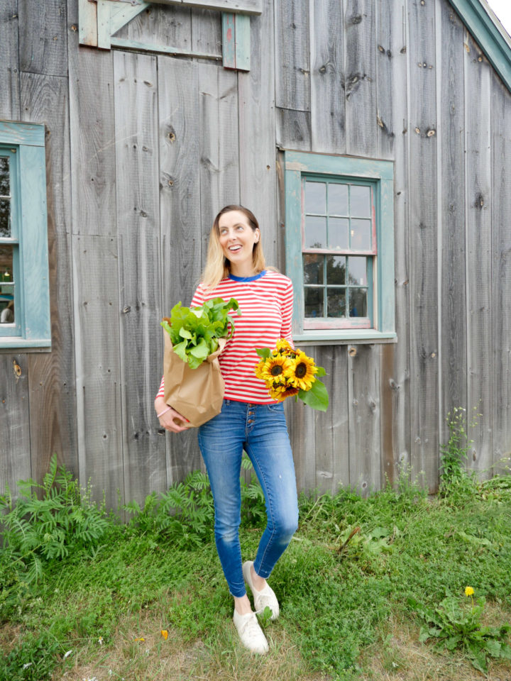 Eva Amurri Martino is living her best life in Bar Harbor, ME, with a handful of sunflowers and a bag of veggies.