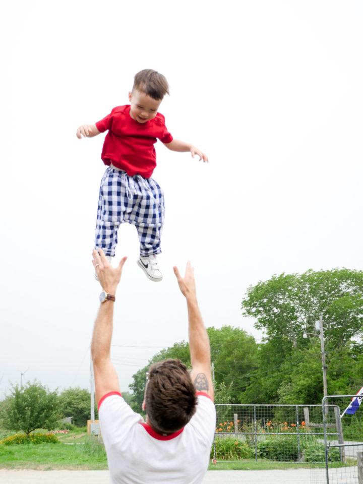 Eva Amurri Martino's husband Kyle throws their son Major in air in Bar Harbor, ME.
