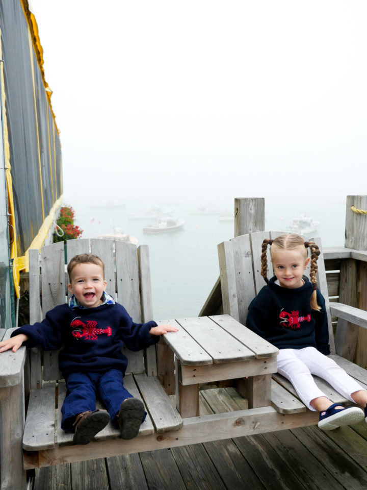 Eva Amurri Martino's kids Marlowe and Major look on in matching lobster sweaters.
