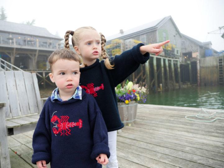 Eva Amurri Martino's kids Marlowe and Major walk around Bar Harbor in matching lobster sweaters.
