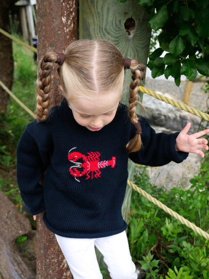 Eva Amurri Martino's daughter Marlowe in a handmade lobster sweater in Bar Harbor, ME.