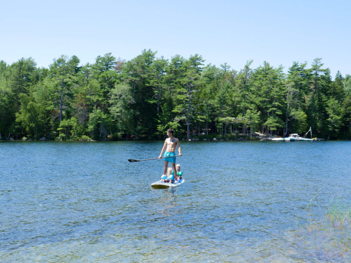 Eva Amurri Martino's husband Kyle takes their kids Marlowe and Major on a stand up paddle board ride in Bar Harbor, ME.