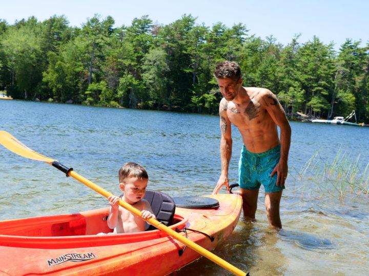 Eva Amurri Martino's husband Kyle pushes their son Major in a canoe in Bar Harbor, ME.