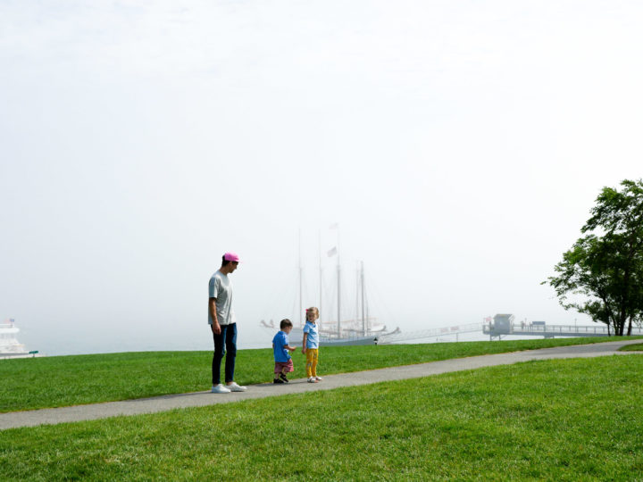 Eva Amurri Martino's husband Kyle and their kids Marlowe and Major hang out in Bar Harbor, ME on a foggy day.