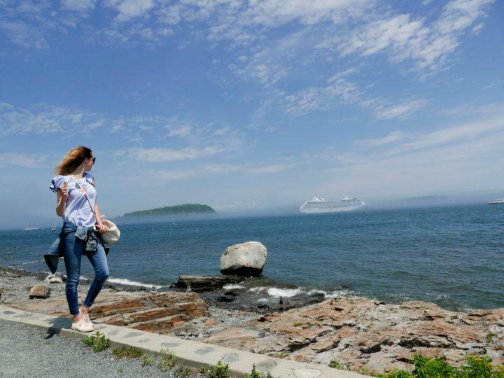 Eva Amurri Martino walks along the water in Bar Harbor, ME.