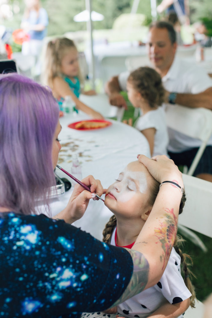 Eva Amurri Martino's daughter Marlowe who has a painted face like a Dalmatian at her 4th birthday party