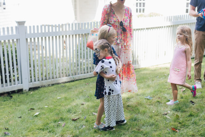 Marlowe Martino talks to friends at her 4th Birthday Party