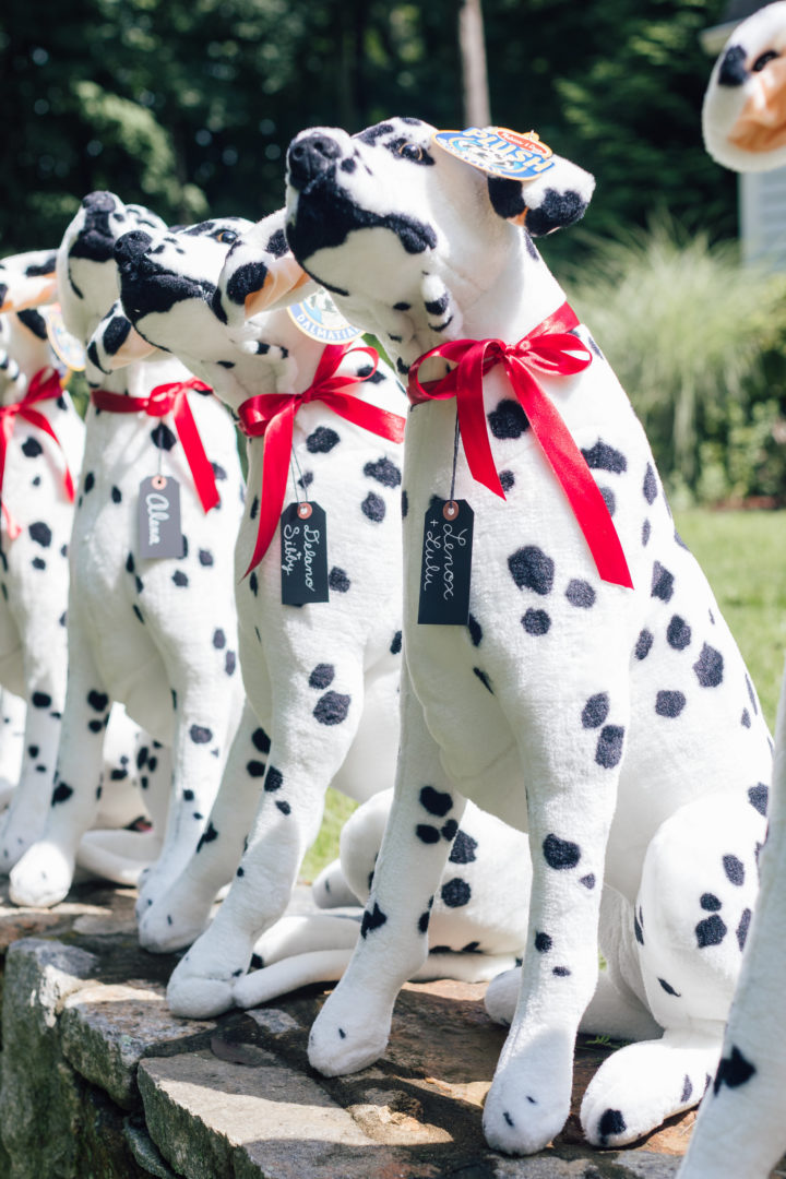 A line of Melissa & Doug Dalmations at Marlowe Martino's 4th Birthday Party