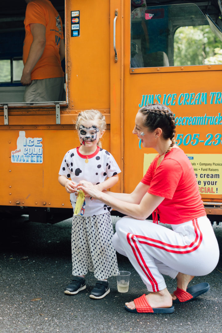Eva Amurri Martino and her daughter Marlowe who has a painted face like a Dalmatian at her 4th birthday party