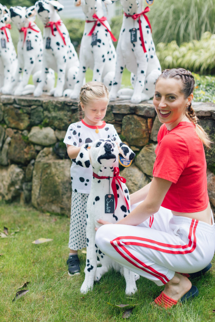 Eva Amurri Martino with her daughter Marlowe at her 4th birthday holding a Melissa & Doug Dalmation.