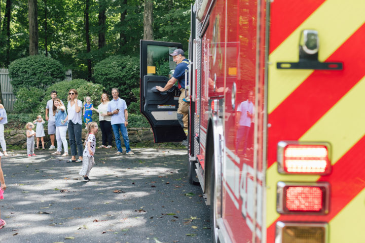 The fire truck arrives at Marlowe Martino's 4th birthday party