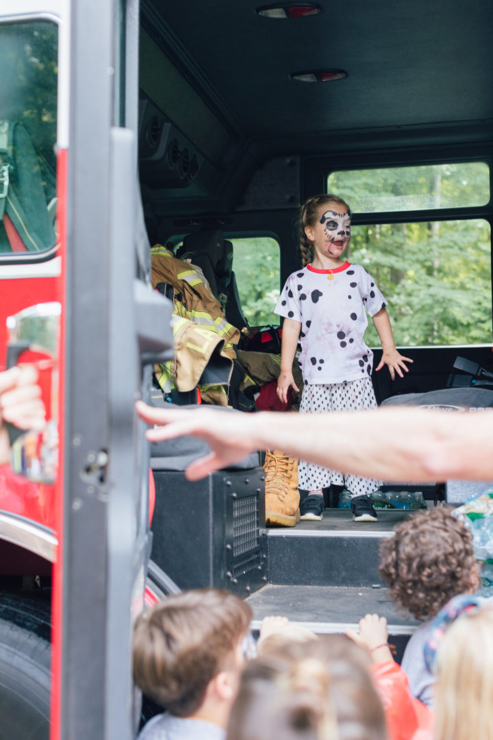 Eva Amurri Martino's daughter Marlowe in a firetruck at her 4th birthday party