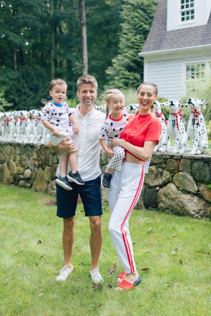 Eva Amurri Martino, husband Kyle, and kids Marlowe and Major celebrate Marlowe's 4th birthday with a firetruck and firedog themed birthday party.