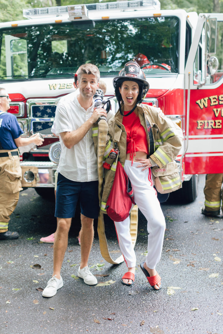 Eva Amurri Martino and husband Kyle post in fireman gear at their daughter's 4th birthday party