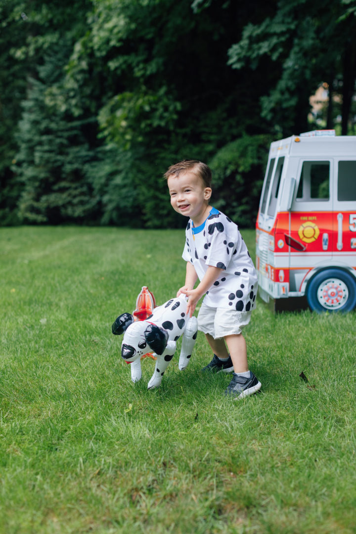 Eva Amurri Martino's son Major wears a Dalmatian shirt at his sister Marlowe's 4th birthday.