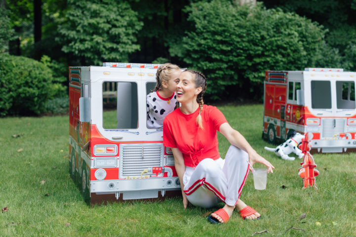 Marlowe Martino at her 4th birthday party inside of Melissa & Doug fire truck