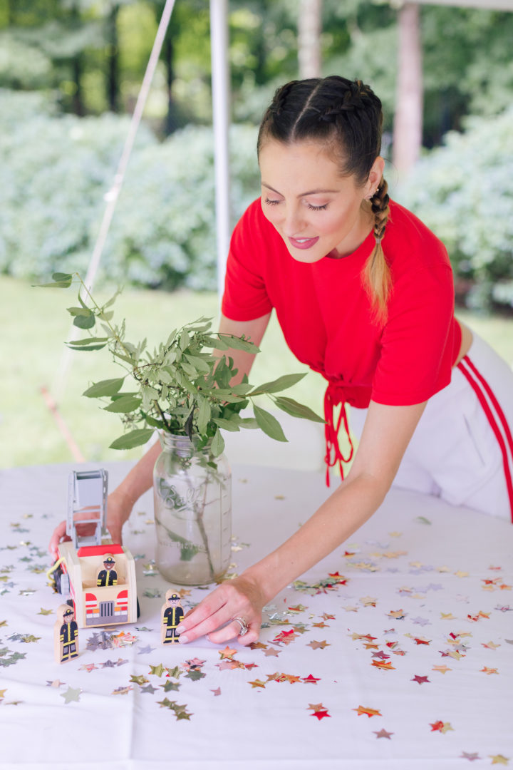 Eva Amurrii Martino setting up for her daughter Marlowe's 4th birthday party