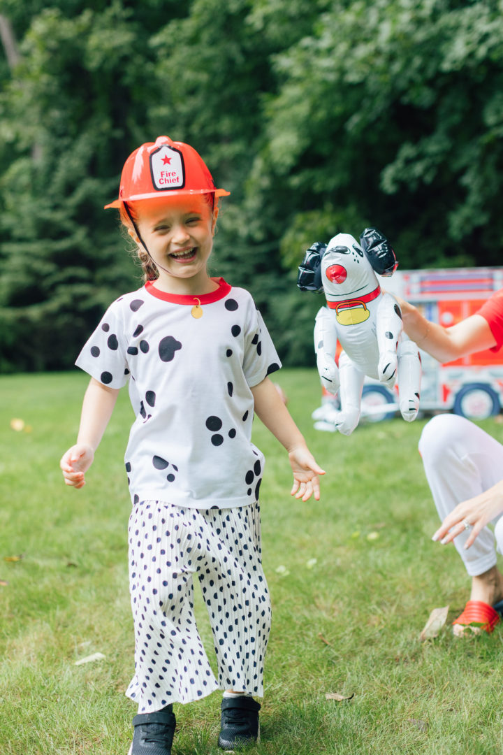 Eva Amurri Martino's daughter Marlowe wearing a fireman's hat at her 4th birthday party