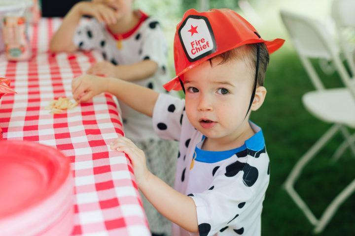 Eva Amurri Martino's son Major wears a fire hat and dalmation shirt at his sister Marlowe's 4th birthday.