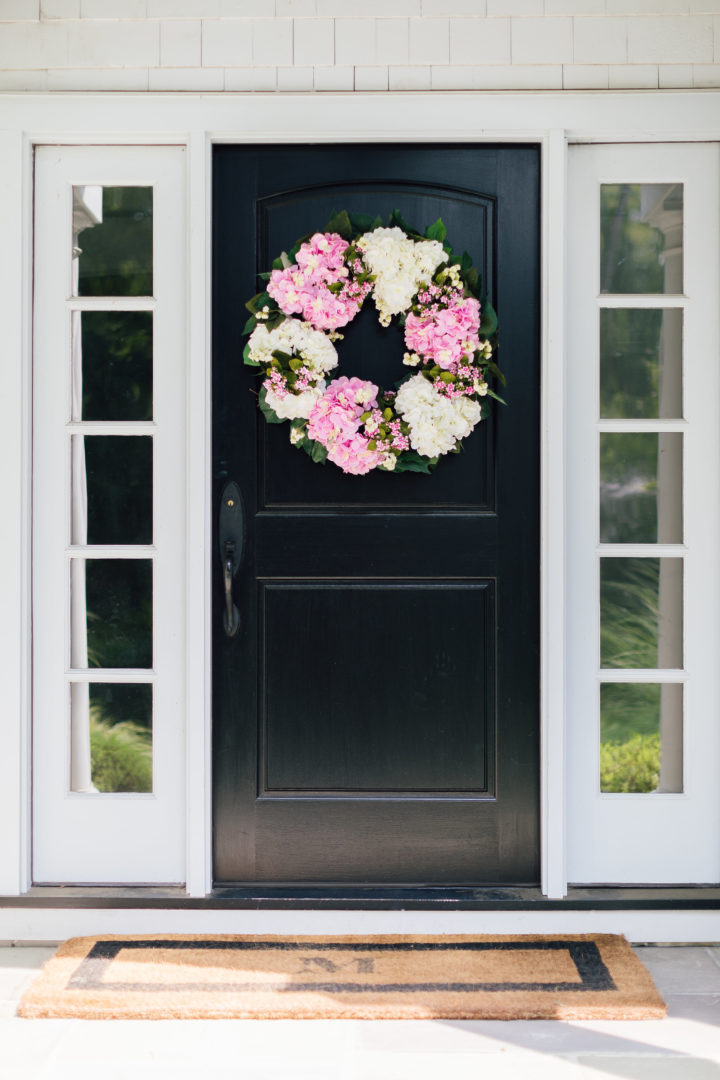 Eva Amurri Martino updates her outdoor decor with a front door wreath from Frontgate