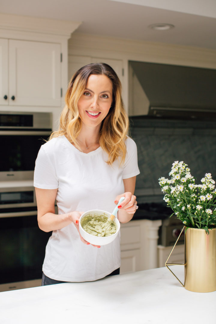 Eva Amurri Martino mixes up a DIY matcha and clay face mask at her home in Connecticut