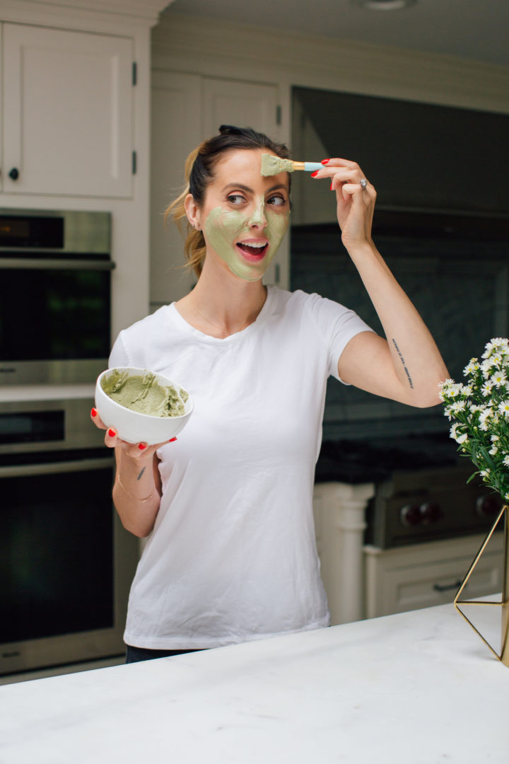 Eva Amurri Martino paints her face with a homemade DIY matcha and clay face mask at her home in Connecticut