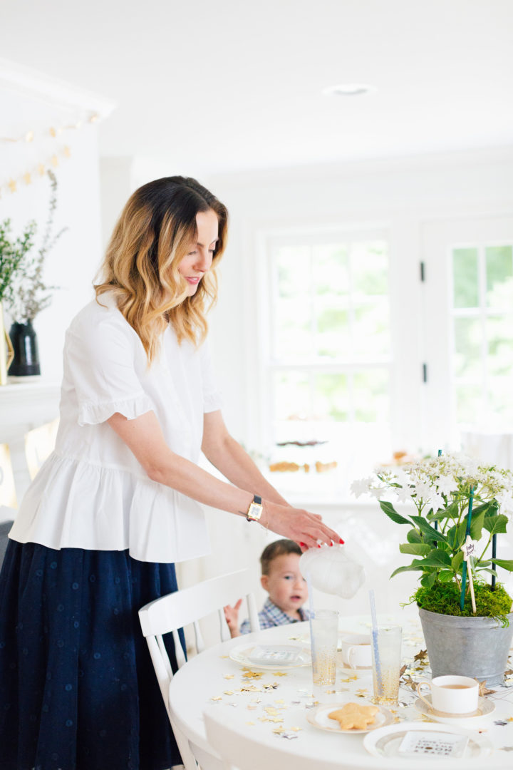Eva Amurri Martino pours a cup of tea at her Celestial Baby Sprinkling Party