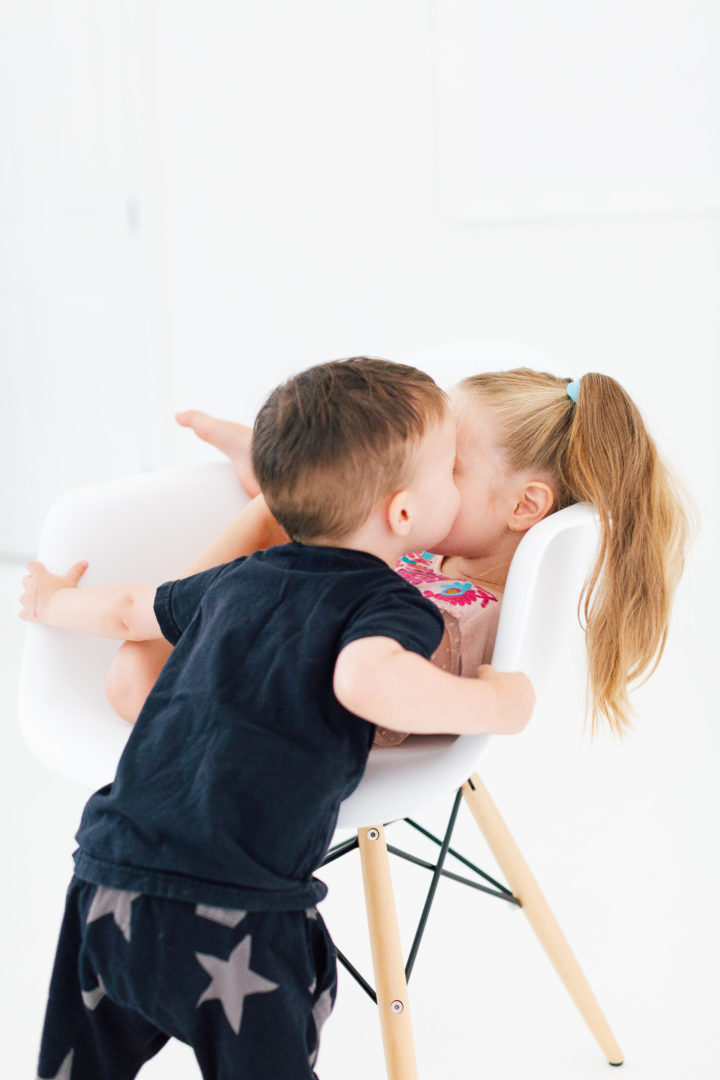Eva Amurri Martino's daughter Marlowe gets a kiss from her brother Major
