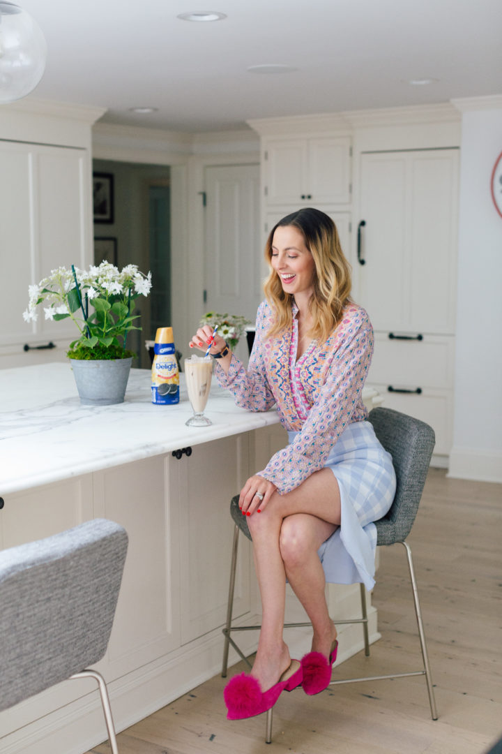 Eva Amurri Martino enjoys an iced coffee at her home in Connecticut