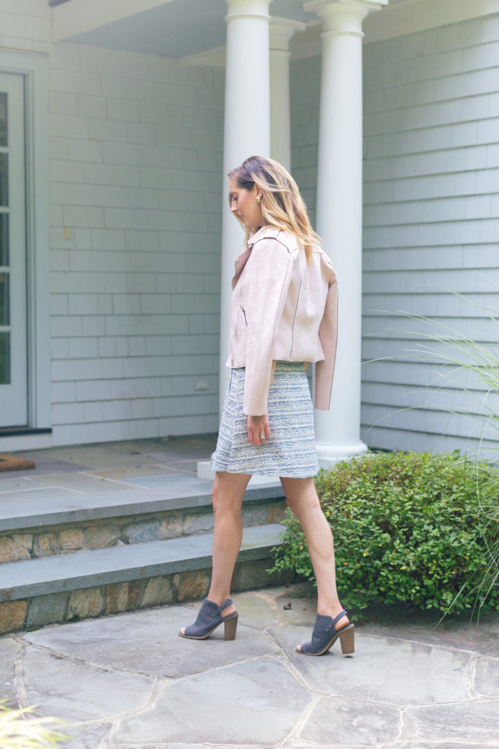 Eva Amurri Martino wears a blush pink suede motorcycle jacket and flowy tweed Loft skirt for a warm fall