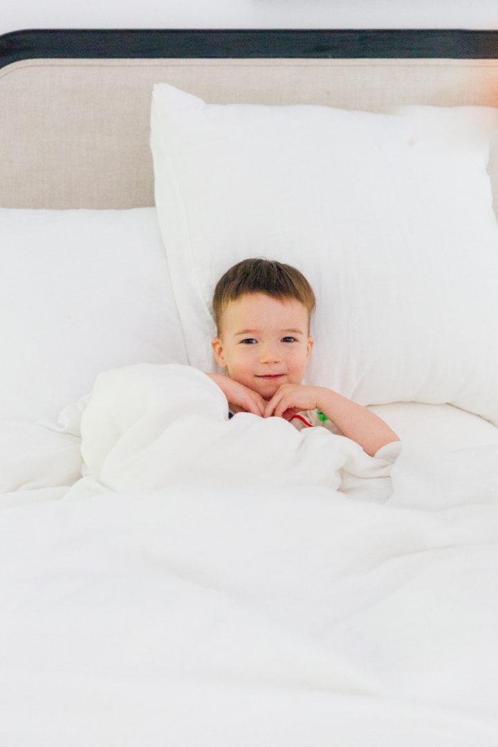 Eva Amurri Martino's son Major plays around in matching pajamas