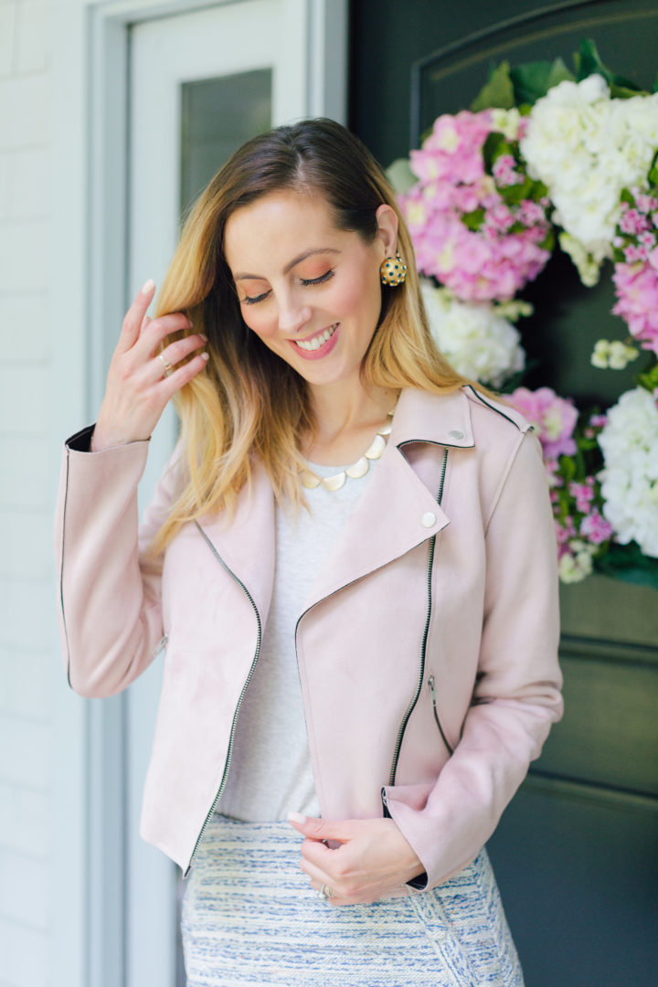 Eva Amurri Martino wears a blush pink suede motorcycle jacket for a warm fall