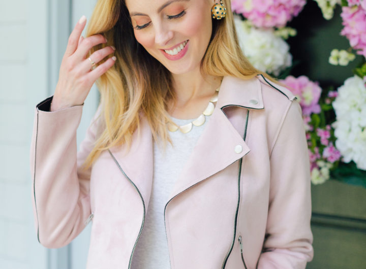 Eva Amurri Martino wears a blush pink suede motorcycle jacket for fall
