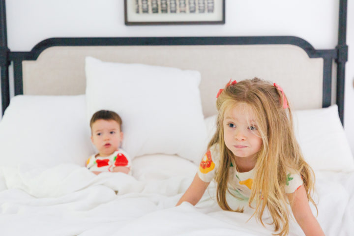 Eva Amurri Martino's kids Marlowe and Major play around in matching pajamas