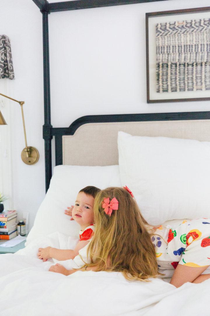 Eva Amurri Martino's kids Marlowe and Major play around in matching pajamas