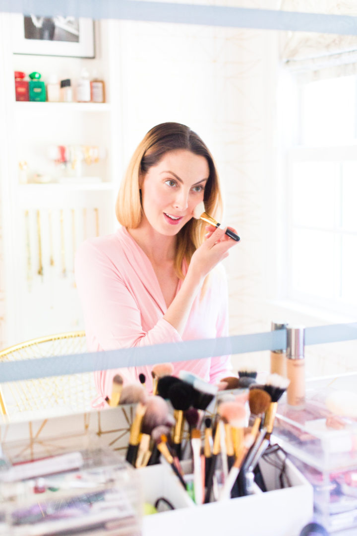 Eva Amurri Martino applies blush in the glam room of her Connecticut home
