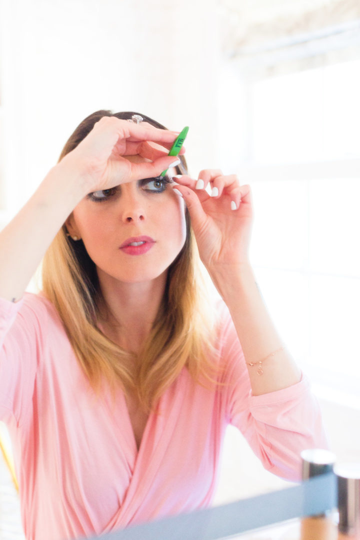 Eva Amurri Martino applies false lashes in the glam room at her Connecticut home