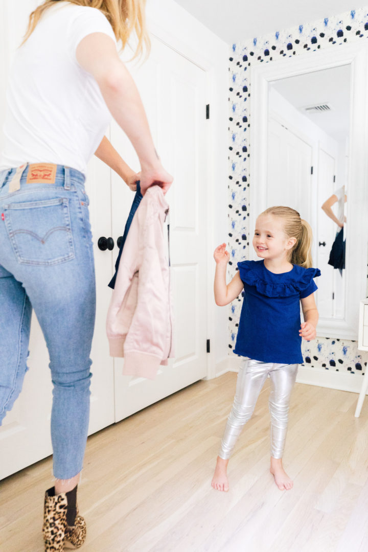 Eva Amurri Martino's daughter Marlowe tries on a new jacket she ordered off the new Amazon Prime Wardrobe