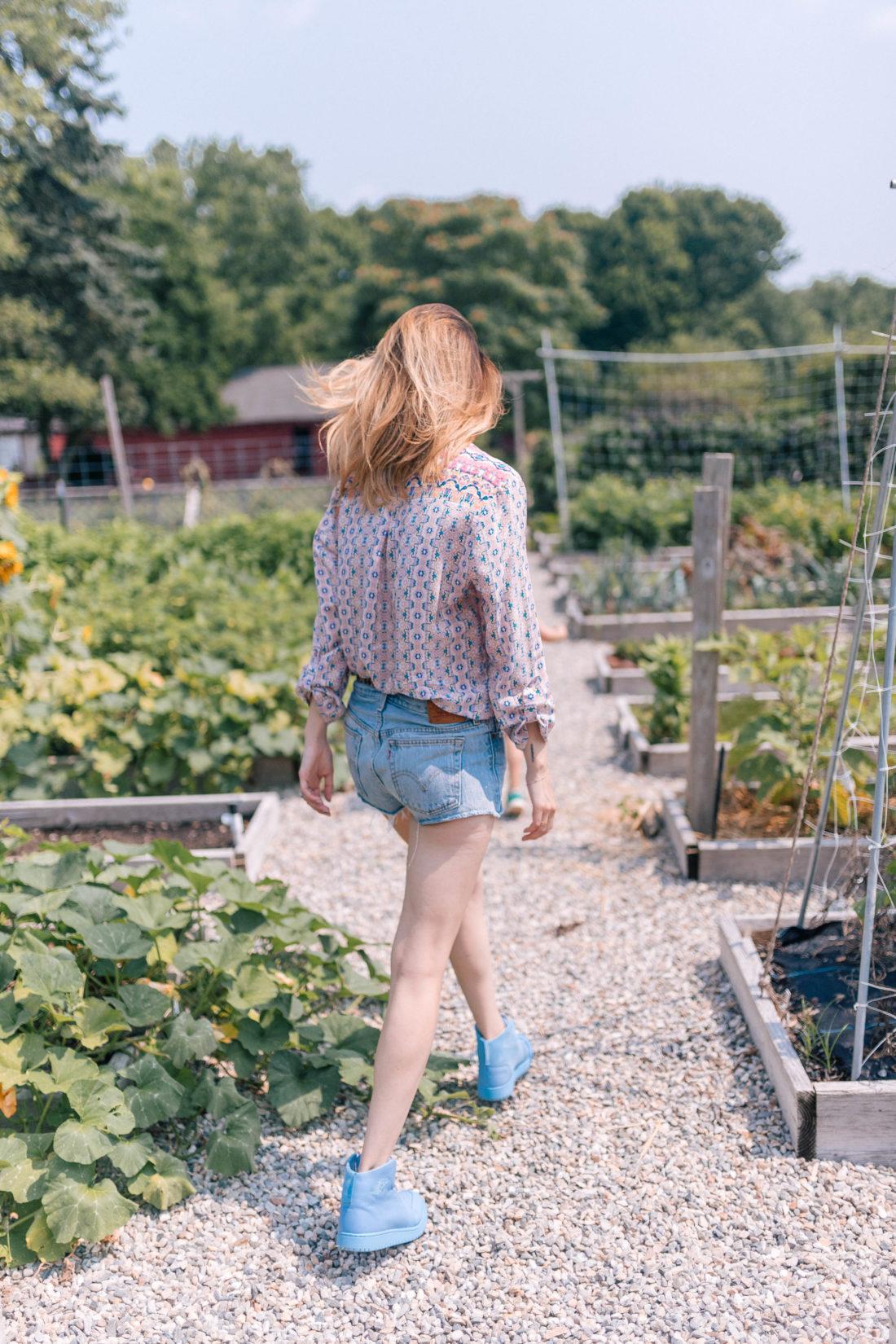Eva Amurri Martino wears a silk blouse and denim cutoffs and walks through the vegetable garden of a local farm