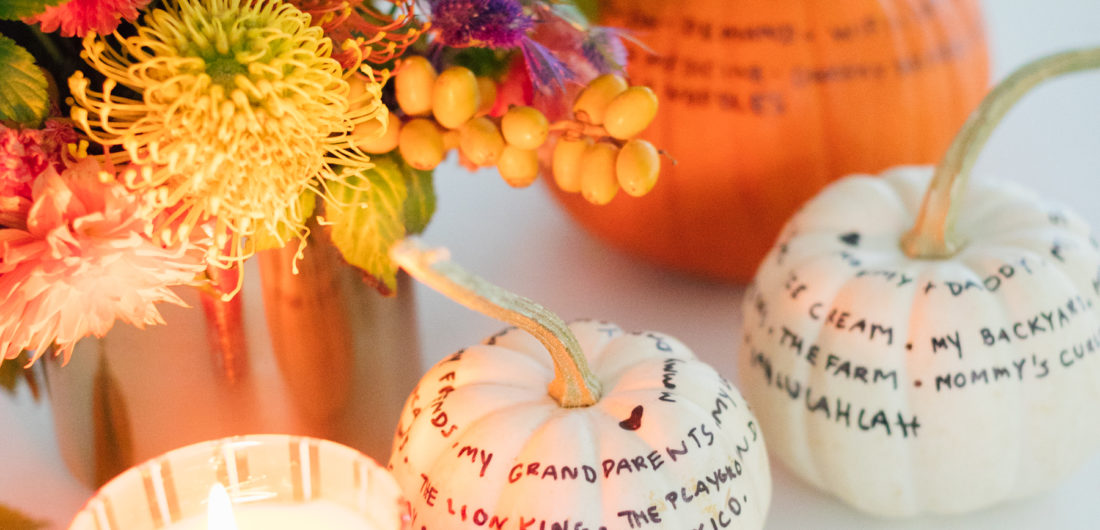 Eva Amurri Martino shares a thoughtful DIY craft for fall: Gratitude Pumpkins