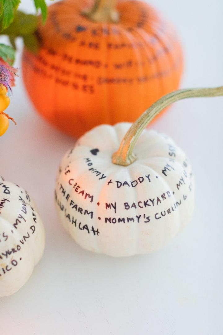 Eva Amurri Martino shares a thoughtful DIY craft for fall: Gratitude Pumpkins