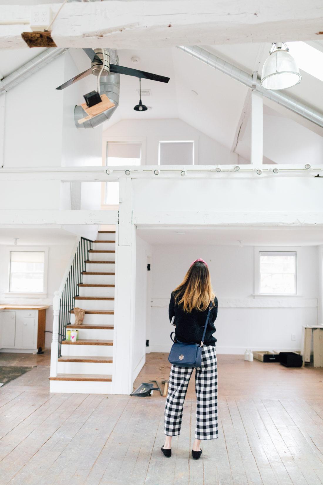 Eva Amurri Martino stands in the preliminary renovation of her new studio space in Westport Connecticut