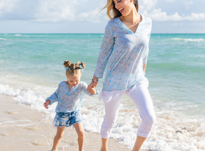 Eva Amurri Martino and Marlowe Martino wear matching Happily Eva After x Masala Baby tunics and run along the water's edge in Miami FL