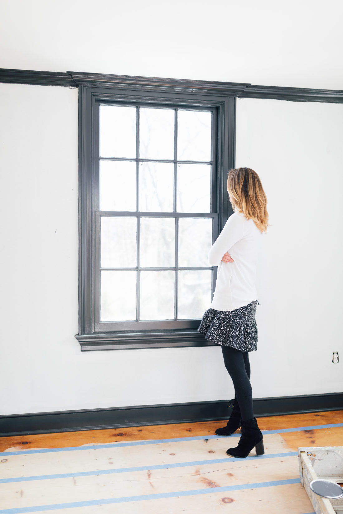 Eva Amurri Martino looks out the window during the renovation of her historic home.